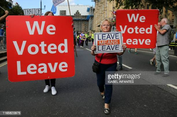 A proBrexit activist demonstrates outside the Houses of Parliament in central London on September 3 2019 The fate of Brexit hung in the balance on...