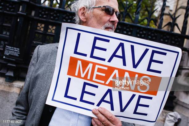 A proBrexit activist demonstrates outside the Houses of Parliament in London England on October 21 2019 House of Commons Speaker John Bercow this...