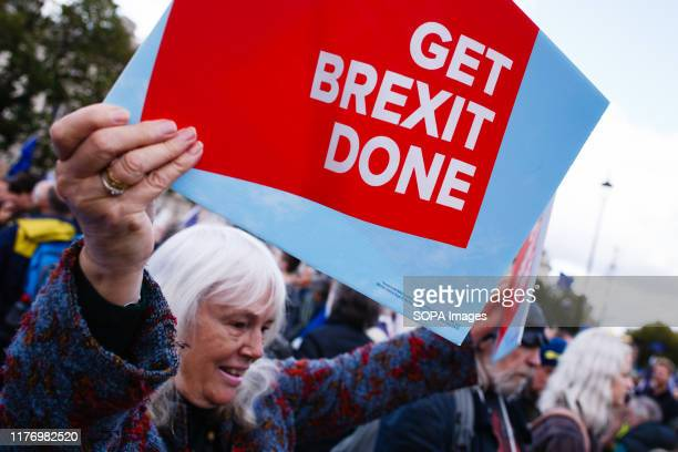 A proBrexit activist with a placard at Parliament Square as antiBrexit activists protest A mass 'Together for the Final Say' march organised by the...