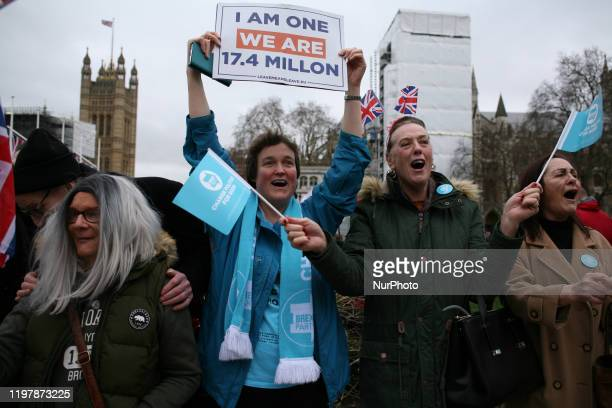 Pro-Brexit activists celebrate in Parliament Square in London, England, on January 31, 2020. Britain's exit from the European Union, today at 11pm UK...