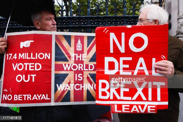 ProBrexit activists demonstrate outside the Houses of Parliament in London England on October 21 2019 House of Commons Speaker John Bercow this...