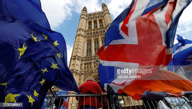 ProBrexit and antiBrexit protesters hold flags as they demonstrate outside the Houses of Parliament in London on March 14 2019 as members debate a...
