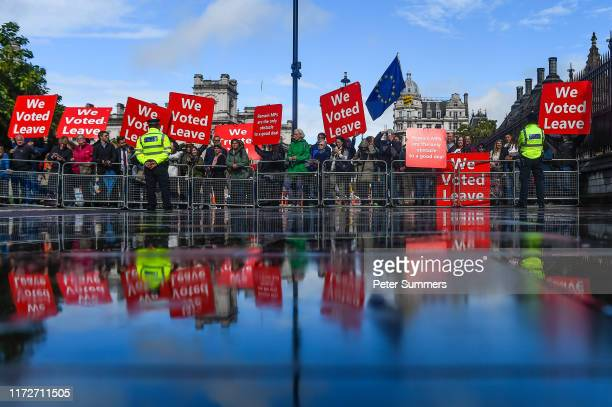 ProBrexit campaigners protest outside the Houses of Parliament following the Judge's Ceremony on October 1 2019 in London England