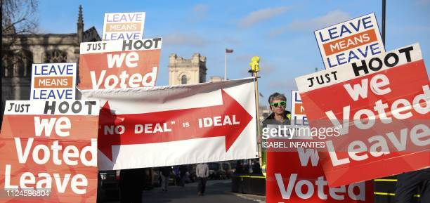 A proBrexit demonstrator is seen with placards outside the Houses of Parliament in London on February 13 2019 The British government denied Wednesday...