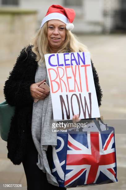 Pro-Brexit demonstrators are seen as they walk through Westminster on December 09, 2020 in London, England.