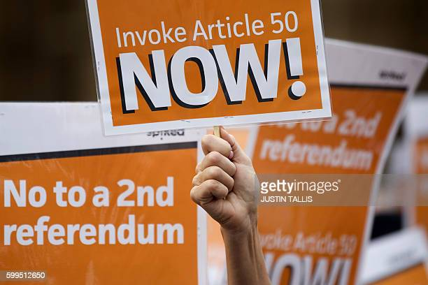 ProBrexit demonstrators calling on the British government to invoke article 50 immediately and urging them not to hold a second referendum shout...