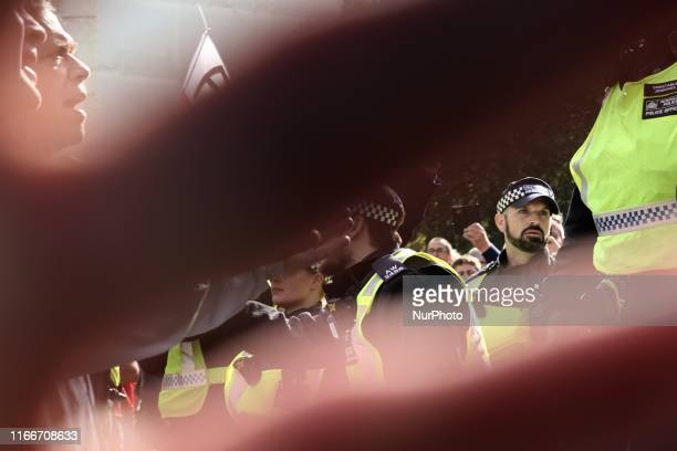 ProBrexit demonstrators clashed with polce forces at Parlament Square London England on Saturday September 7 2019 The protests took place amid strong...