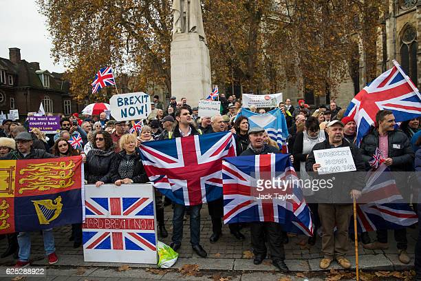 ProBrexit demonstrators hold Union Jack flags as they protest outside the Houses of Parliament on November 23 2016 in London England British Prime...