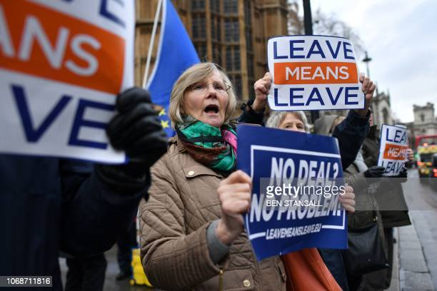 ProBrexit demonstrators protest opposite the Houses of Parliament in London on December 5 2018 British Prime Minister Theresa May returns to the...