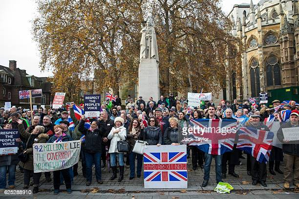 ProBrexit demonstrators protest outside the Houses of Parliament on November 23 2016 in London England British Prime Minister Theresa May has said...