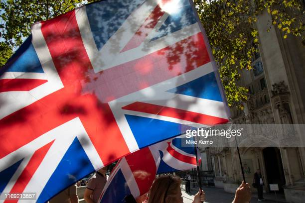 ProBrexit leave protesters waving Union Jack flags outside The Supreme Court as the second day of the hearing to rule on the legality of suspending...