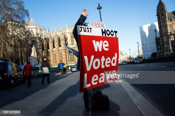 A proBrexit protester demonstrates outside the Houses of Parliament in Westminster on January 08 2019 in London England MPs in Parliament are to vote...