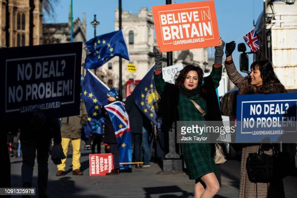 ProBrexit protesters demonstrate outside the Houses of Parliament in Westminster on January 08 2019 in London England MPs in Parliament are to vote...