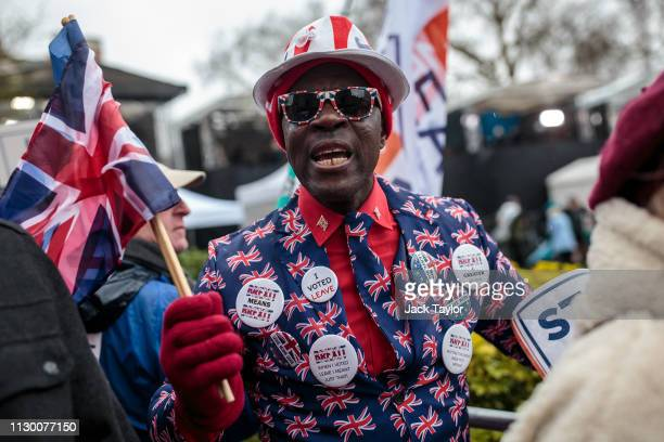 ProBrexit protesters demonstrate outside the Houses of Parliament on March 12 2019 in London England MPs who rejected British Prime Minister Theresa...