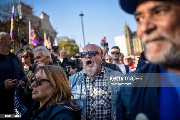 ProBrexit supporters argue with Police officers during a demo outside the Houses of Parliament on March 29 2019 in London England Today proBrexit...