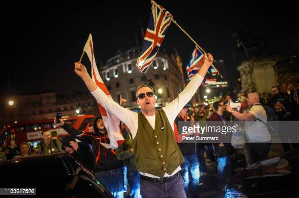 ProBrexit supporters block traffic in Trafalgar Square on March 29 2019 in London England Today proBrexit supporters including the March To Leave...