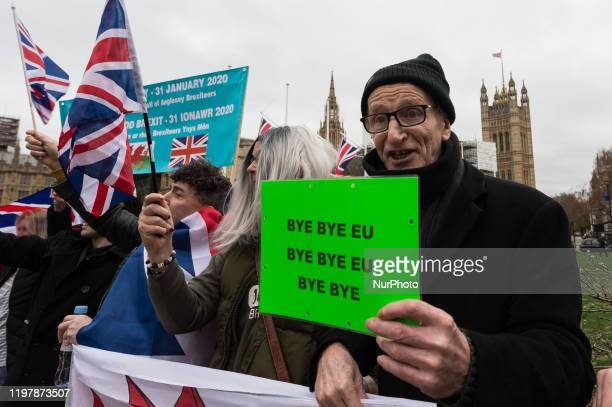 Pro-Brexit supporters gather in Parliament Square to celebrate Brexit day on 31 January, 2020 in London, England. Today, Britain formally leaves the...