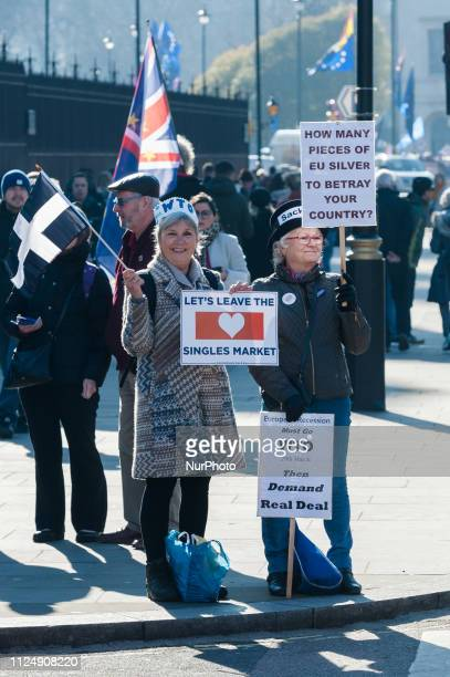 ProBrexit supporters protest outside the Houses of Parliament in London as they campaign for a no deal Brexit and swift departure from the EU on the...