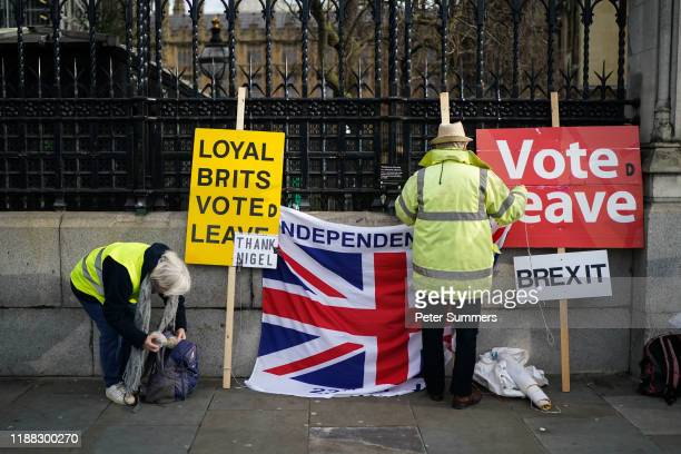Pro-Brexit supporters protest outside the Houses of Parliament on December 13, 2019 in London, England. Prime Minister Boris Johnson and his party...