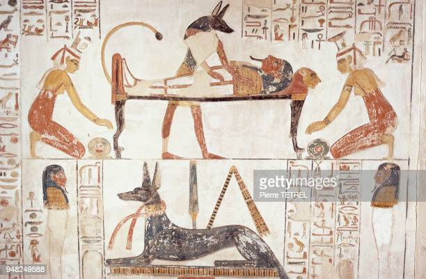 ANUBIS procédant à l'embaumement du Pharaon sur les murs de la tombe datée du XIIème siècle
