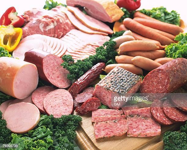 Processed food(ham, sausage), high angle view