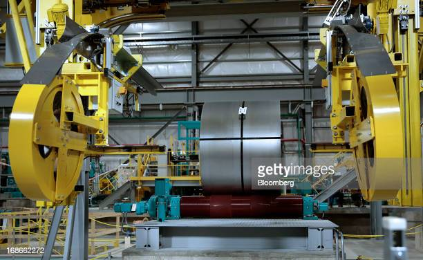 Processed steel is wrapped on the Continuous Annealing Line at the PROTEC Coating Co facility in Leipsic Ohio US on Monday May 13 2013 PROTEC Coating...