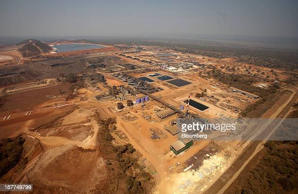 Processing facilities are seen in this aerial view of the Mutanda copper and cobalt mine in Mutanda Katanga province Democratic Republic of Congo on...