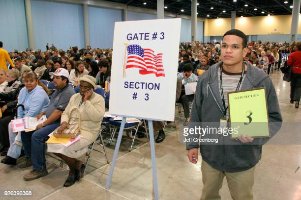 A processing sign at the US Citizenship Ceremony at Miami Beach Convention Center