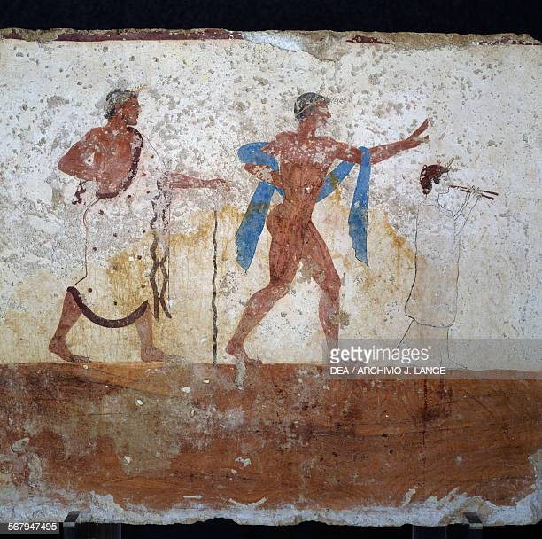 Procession 480490 BC frescoed wall decoration at the front of the Tomb of the Diver in Paestum Campania Italy Ancient Greek civilisation 5th century...