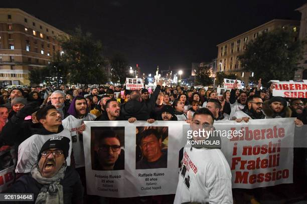 Procession and through the streets of Naples relatives and friends asking for the release of Raffaele Russo of his son Antonio 25 years old and his...
