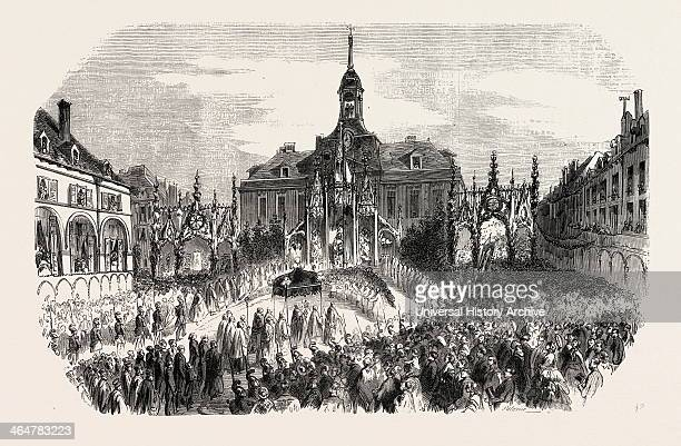 Procession Before The Altar Of The Town Hall Chaumont Hautemarne France Engraving 1855