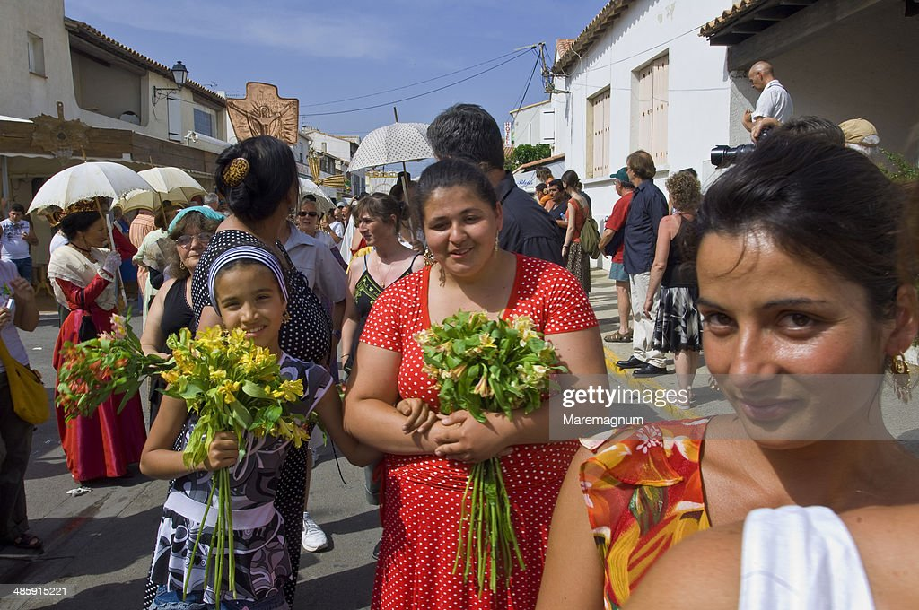 Procession during annual gipsy pilgrimage : Stock Photo