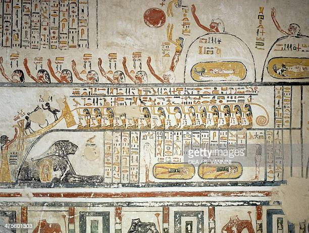Procession following the Sun god Ra's celestial navigation Book of the Earth detail from the frescoes of the burial chamber of the Tomb of Ramesses...