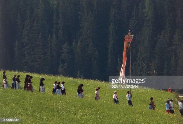 Procession for the Feast of the Assumption Ladin minority La Valle Val Badia TrentinoAlto Adige Italy