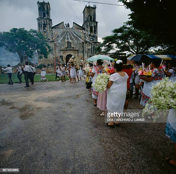 Procession for the Festival of the Birth of the Blessed Virgin Mary Sotuta Yucatan Mexico