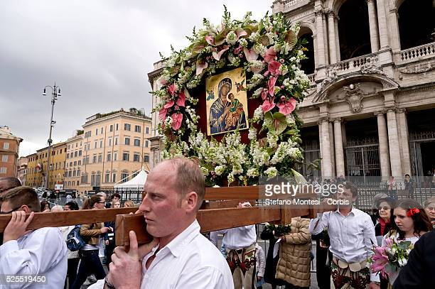 Procession for the Jubilee of the 150th anniversary of the custody of Our Lady of Perpetual Succour at the Redemptorist Missionaries by Pope Pius IX...