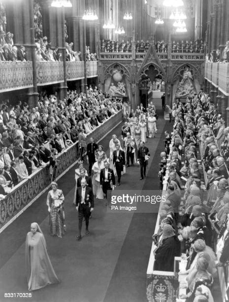 Procession headed by Princess Alice of Greece leaving Westminster Abbey after the coronation of Queen Elizabeth II. 2nd June 1953