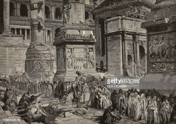 Procession in Rome during the plague in 590, Italy, engraving by G Sabattini, illustration by Lodovico Pogliaghi for the volume Medio Evo , by...