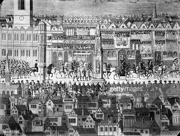 Procession of Edward VI along Cheapside City of London c1550 State procession of King Edward VI along Cheapside London A crowd watches from both...
