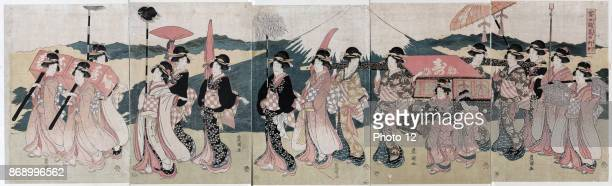 A procession of flowers before Mount Fuji Print shows a procession of several women some carrying a palanquin with Mount Fuji in the background