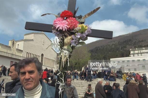 Procession of followers of Padre Pio at San Giovanni Rotondo