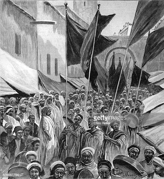 Procession of Marabouts or Muslim Religious Leaders or Teachers in Tripoli Libya 1904