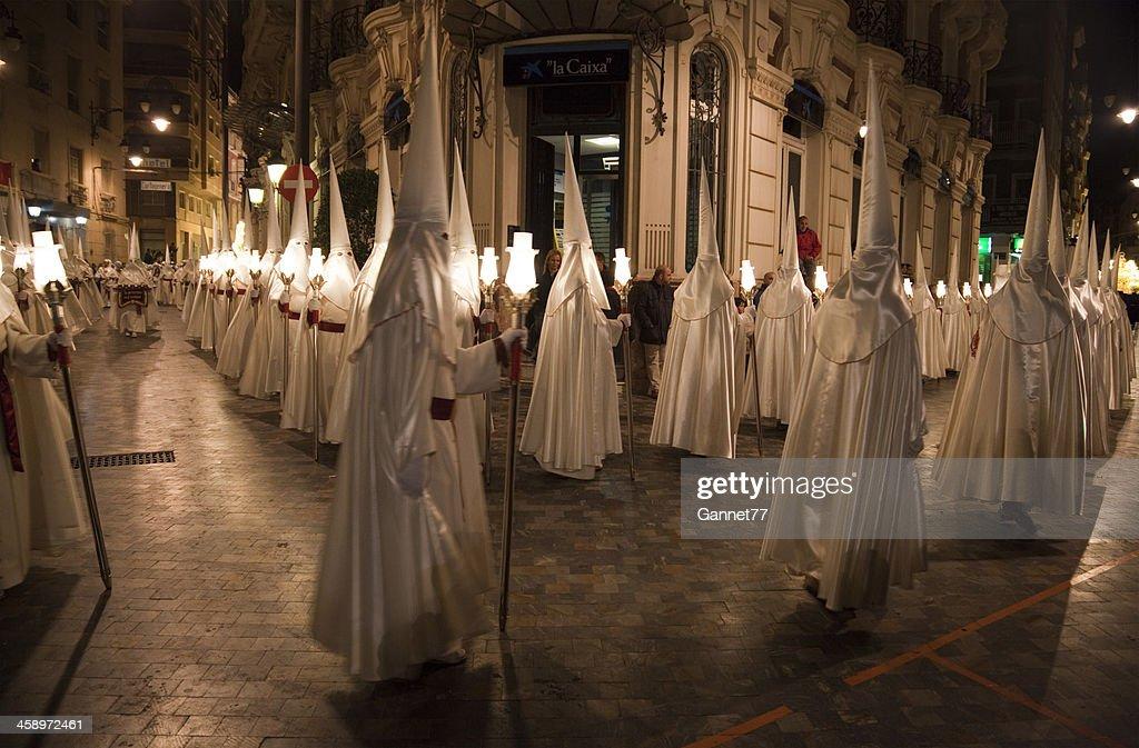 Procession of Nazarenos during Semana Santa in Cartagena, Spain : Stock Photo