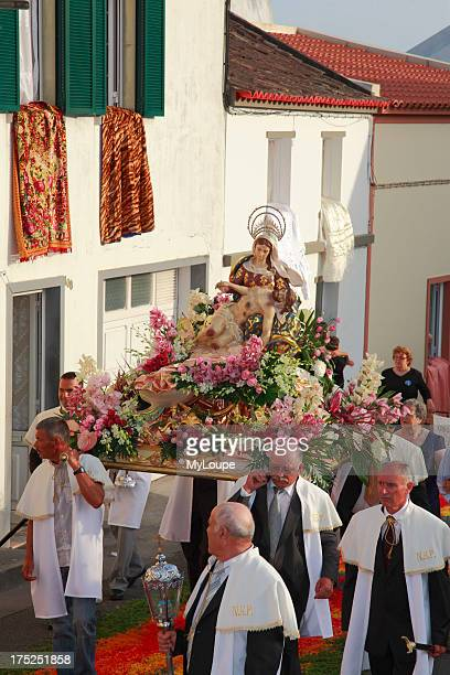 Procession of Nossa Senhora da Piedade in the parish of Ponta Garca Sao Miguel island Azores Portugal
