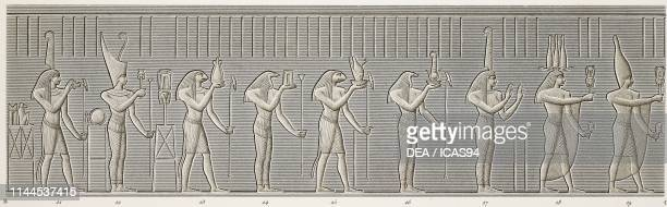 Procession of offering bearers to goddess Isis, frieze on the facade of Hathor Temple portico, Dendera Temple complex, Egypt, detail, engraving by...