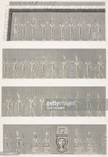 Procession of offering bearers to goddess Isis, friezes on the facade of Hathor Temple portico, Dendera Temple complex, Egypt, engravings by Colibert...