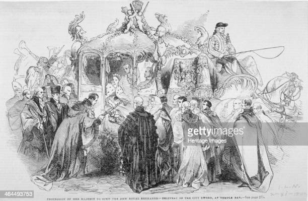 Procession of Queen Victoria to open the Royal Exchange City of London 1844 Showing the delivery of the City Sword at Temple Bar