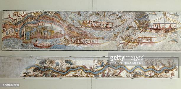 Procession of ships and the course of a river 1650 BC frescoes from Thera Cyclades Greece Minoan civilisation 2nd millennium BC