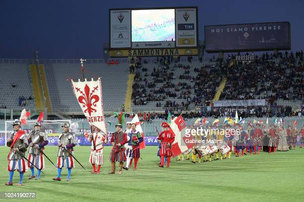 Procession of the Calcio Storico Fiorentino during the serie A match between ACF Fiorentina and Chievo Verona at Stadio Artemio Franchi on August 26...