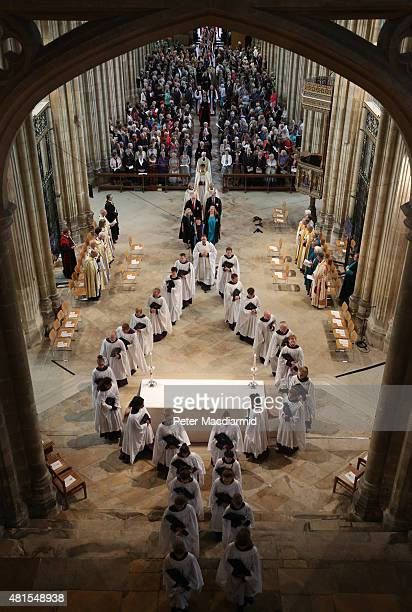 A procession of the choir heralds the start of the consecration of Rachel Treweek as the next Bishop of Gloucester at Canterbury Cathedral on July 22...